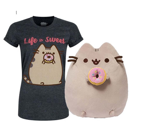 Pusheen Donut Plush with Pusheen Life is sweet T Shirt Large New With Tags