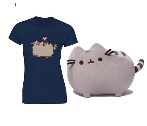 Pusheen Medium Plush with Pusheen Love Heart T Shirt Large New With Tags