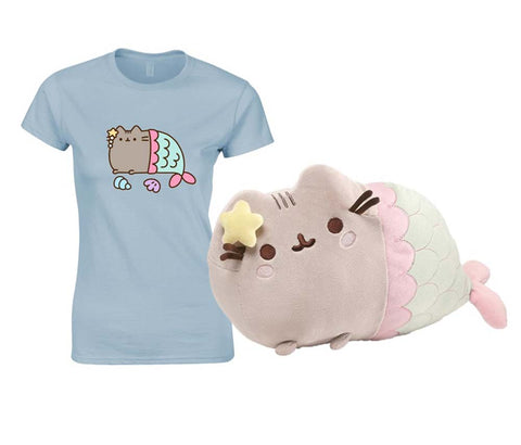 Pusheen Mermaid Plush with Pusheen Mercat T Shirt Large New With Tags
