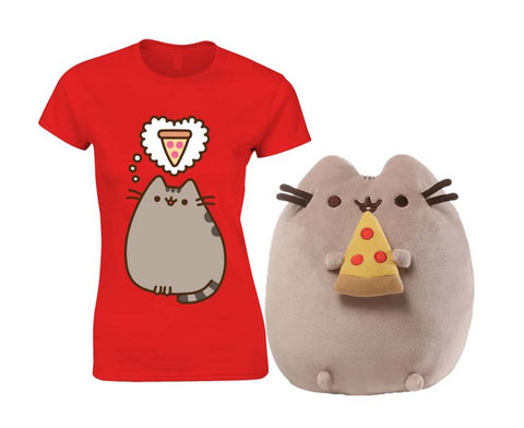 Pusheen Pizza Plush with Pusheen Pizza Thoughts T Shirt Small New With Tags