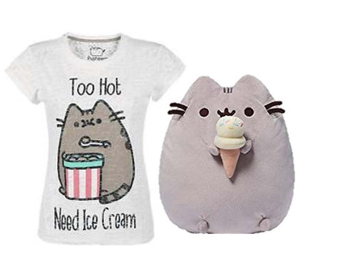 Pusheen Ice Cream Plush With Pusheen Too Hot T Shirt Large New With Tags