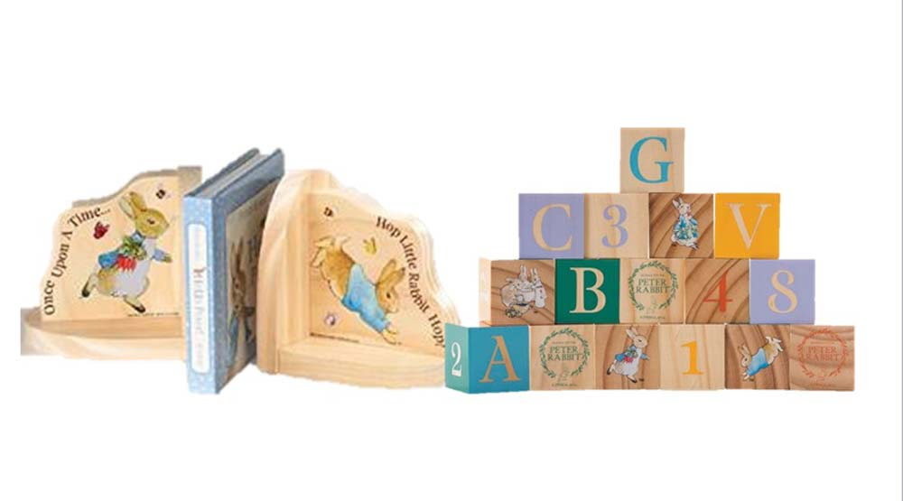 Peter Rabbit Wooden Bookend and Picture Blocks