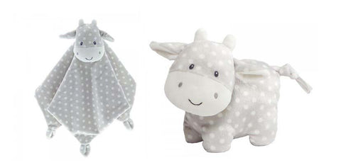 Baby Gund Roly Poly Cow Satin Backed Comforter and Roly Poly Cow Plush