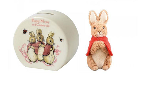 Beatrix Potter Flopsy Mopsy and Cotton Tail Money Box and Medium Peter Rabbit Plush Toy 22cm