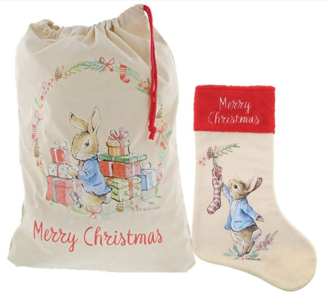 Beatrix Potter Peter Rabbit Christmas Sack and Stocking Gift Set