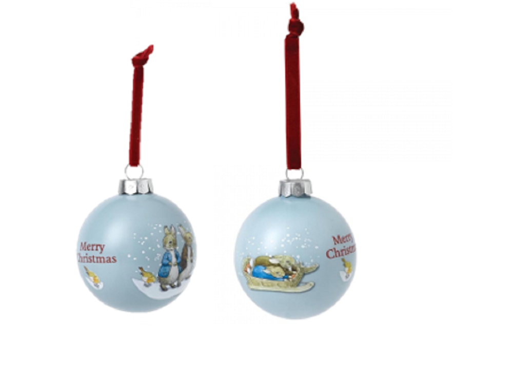 Peter Rabbit and Benjamin Bunny Christmas Baubles Set of 2 A29524 and A2952 Enesco