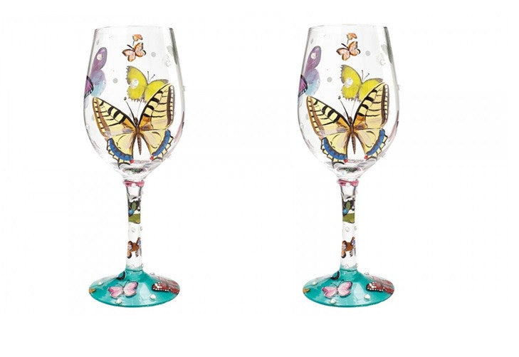 Lolita Butterfly Wishes Wine Glasses Set of 2