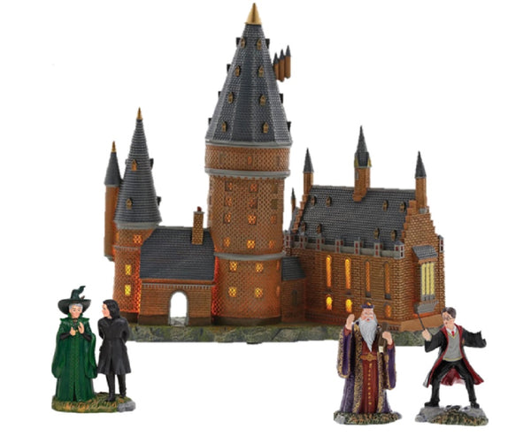 Harry Potter Village Hogwarts Great Hall and Tower with Harry and The Headmaster and Professor Snape and Professor Minerva McGonagall Figurines Set