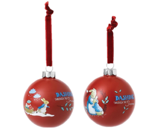 Peter Rabbit and Mrs Rabbit Christmas Baubles A29526 and A29527 Enesco