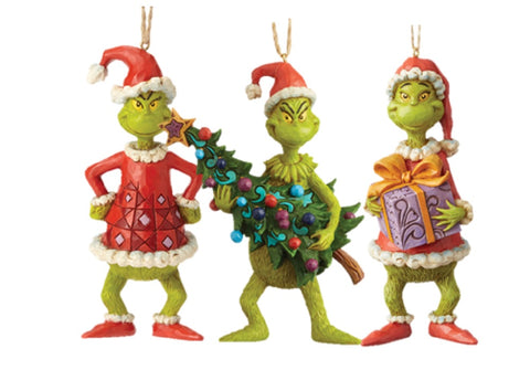 The Grinch Who stole Christmas Hanging Decorations by Jim Shore Set of 3
