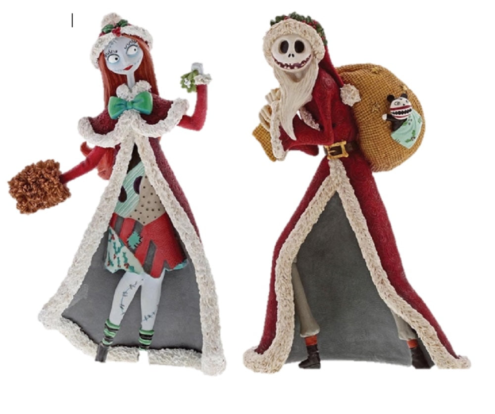 Disney Showcase Santa Jack Skellington and Christmas Sally Set of 2 Figurines