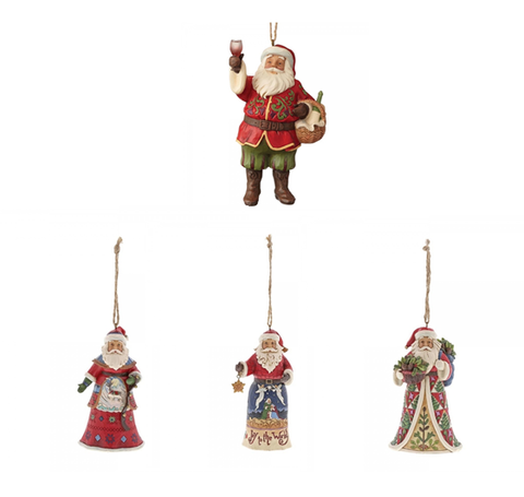 Jim Shore Father Christmas Hanging Ornament Set of 4 (Individually Boxed)