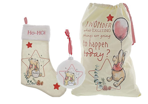 Winnie The Pooh Christmas Sack, Stocking and Bauble Gift Set