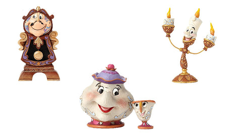 Disney Traditions Mrs Potts & Chip, Cogswoth and Lumiere Figurine Set