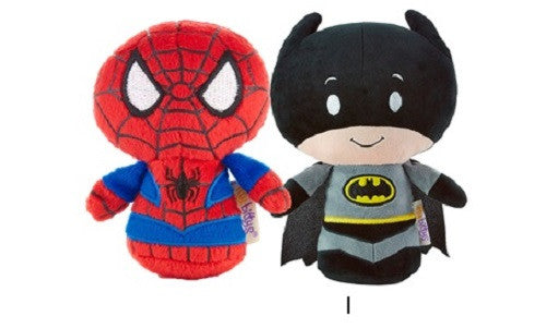 Hallmark Itty Bitty Set of 2 Batman and Spiderman Soft Toy 11cm