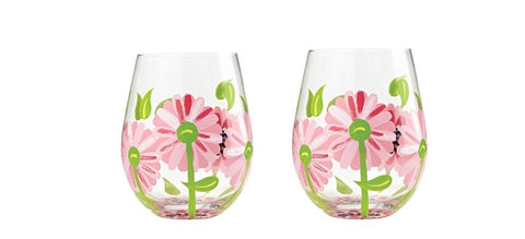 Lolita Oops a Daisy Stemless Wine Glass Set of 2 Glasses