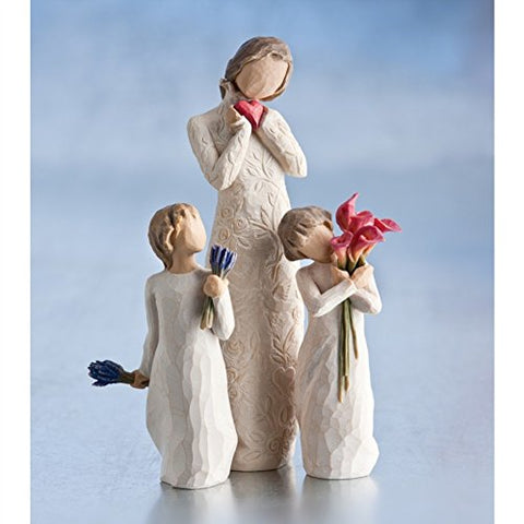 Willow Tree Figurines Gift Set Mother with Two Daughters Holding Flowers