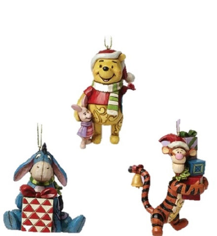 Disney Traditions Pooh, Eeyore and Tigger Christmas Hanging Ornament Set of 3