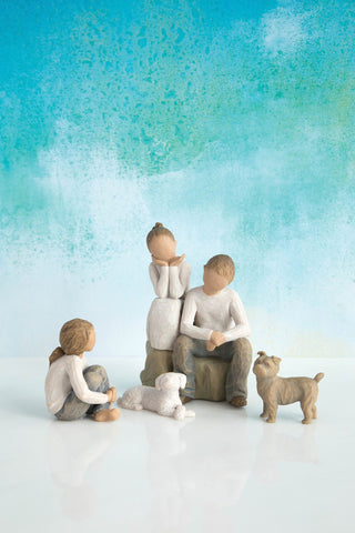 Willow Tree Figurine Gift Set 2 Daughters with Son and 2 Dogs