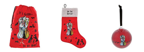 Disney Villains Cruella De Vil Christmas Sack, Stocking and Bauble Gift Set