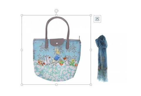 Beatrix Potter Peter Rabbit Fold Away Tote Bag and Scarf Gift Set