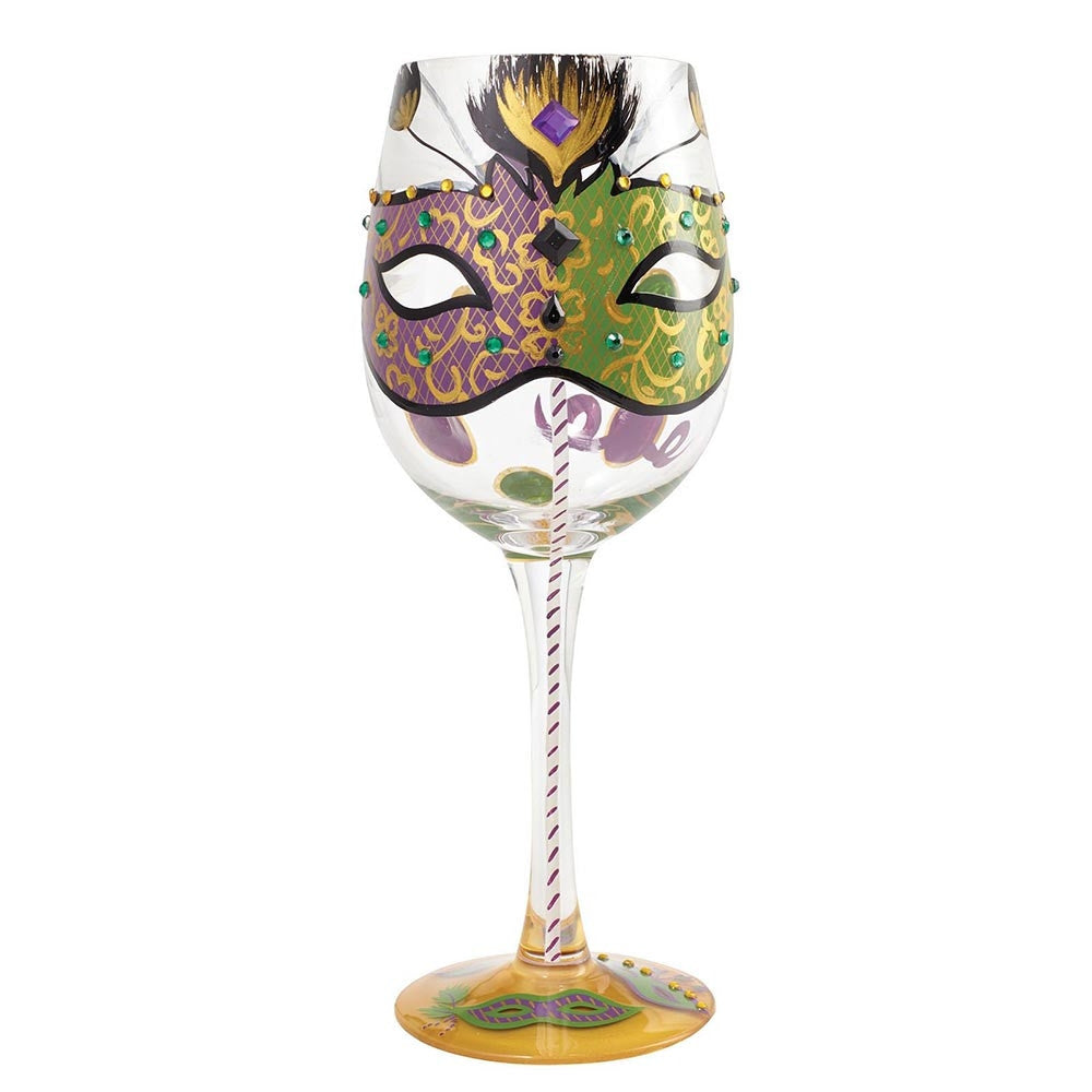 Lolita Mardi Gras Wine Glass