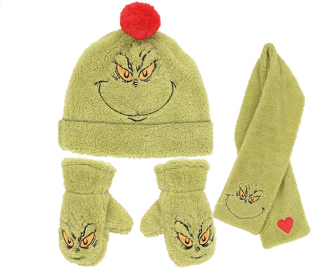 The Grinch Hat, Scarf and Gloves Set