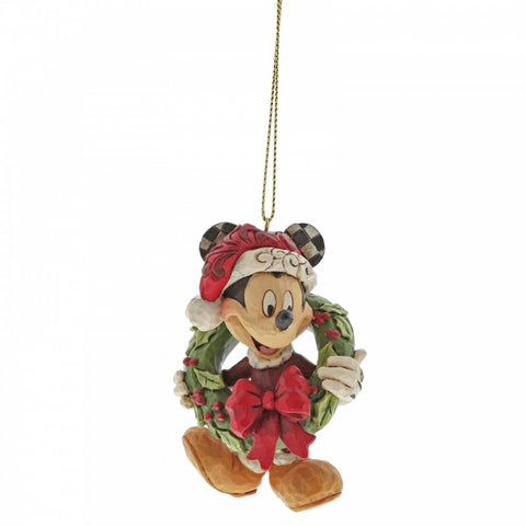 Disney Traditions Hanging Ornament - Mickey Mouse With Christmas Wreath