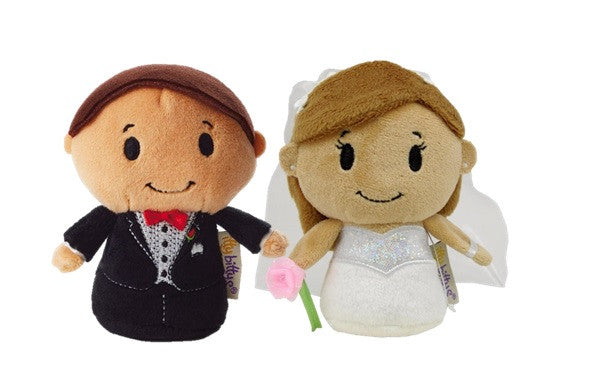 Bride and Groom Set of 2 Itty Bitty Beanie Soft Toys 12cm