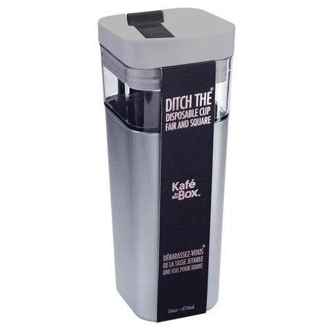 Kafe in the Box Designer Travel Mug 16oz - 473ml Med Silver