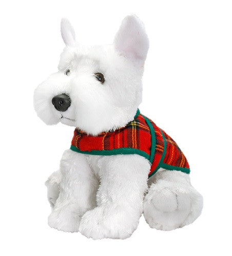 Keel Toys White Scottie Dog With Tartan Jacket Soft Toy