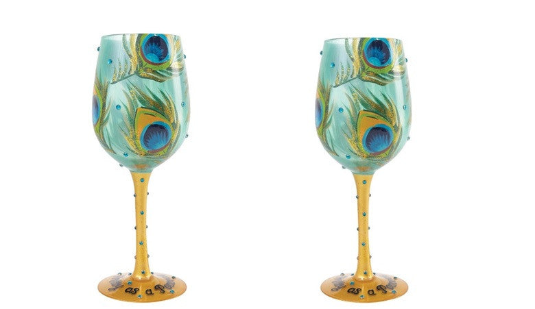 Lolita Pretty As A Peacock Wine Glasses Set of 2