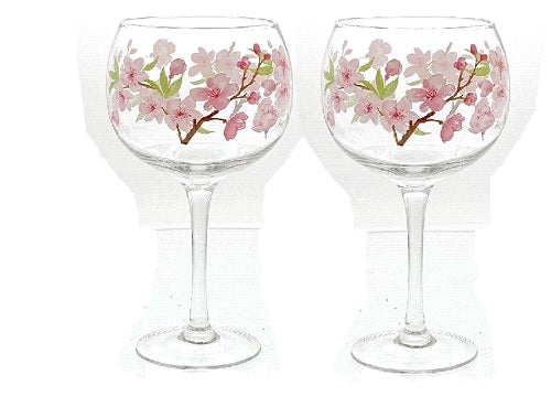 Ginology Cherry Blossom Copa Glass Set of 2