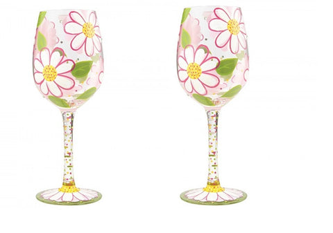 Lolita Oops I Daisied Again Wine Glass Set of 2