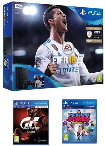 Sony Playstation 4 500 GB + FIFA 18 + GT Sports + Knowledge Is Power