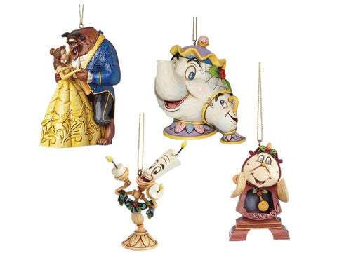 Disney Traditions Belle and The Beast with Mrs Potts & Chip , Cogsworth & Lumier Hanging Christmas Tree Decorations