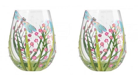 Lolita Stemless Dragonfly Wine Glasses Set of 2