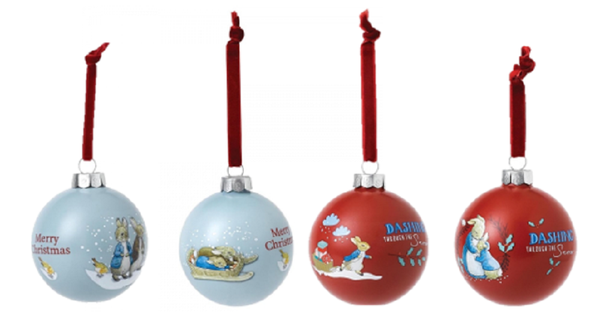 Peter Rabbit, Benjamin Bunny and Mrs Rabbit Christmas Baubles Set of 4 Enesco