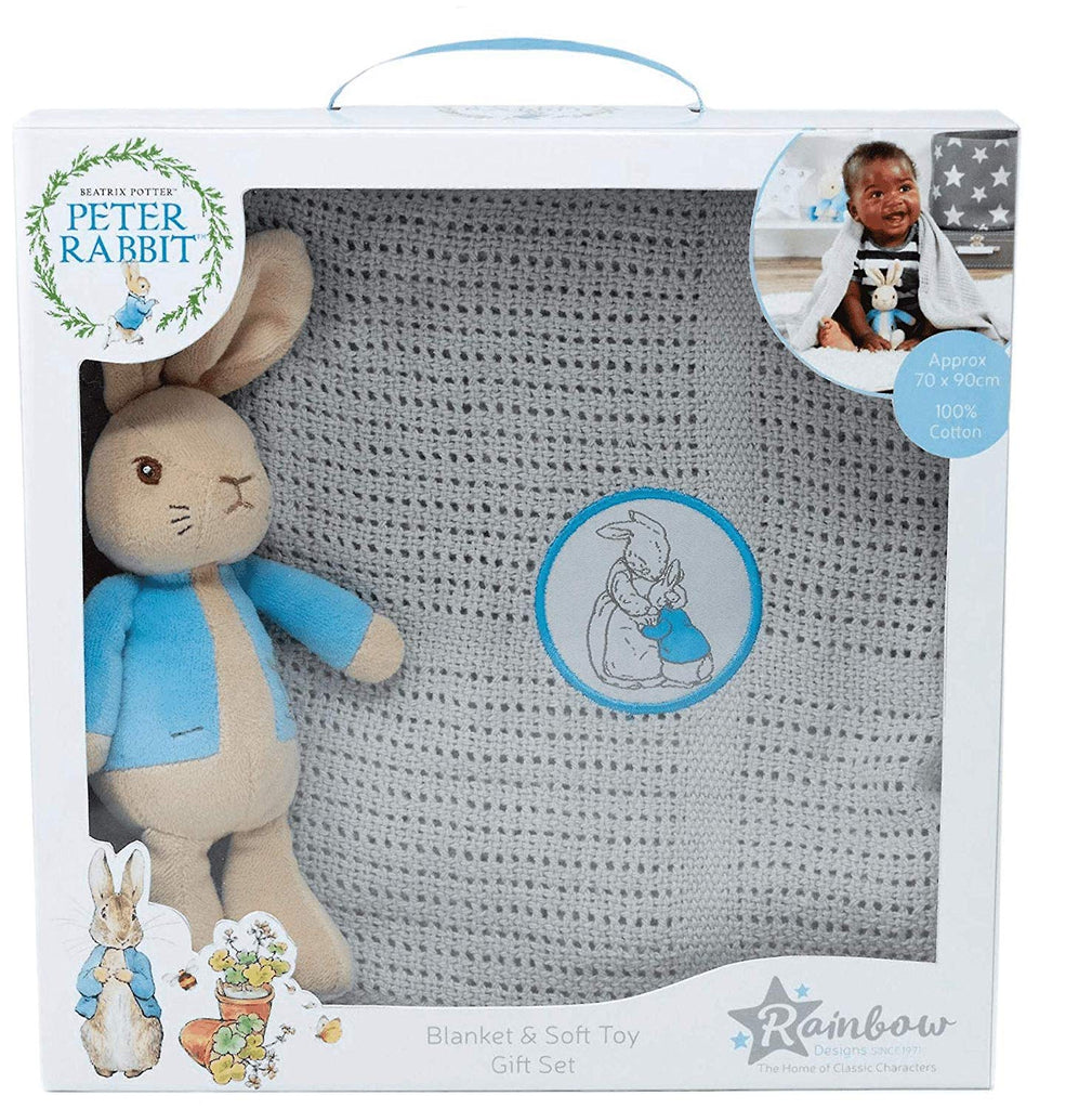 Peter Rabbit Soft Toy and Blanket Gift Set by Rainbow Designs