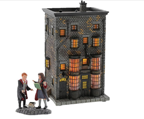 Harry Potter Village Ollivanders Wand Shop and Ron and Hermione Wingardium Leviosa! Figurine Set