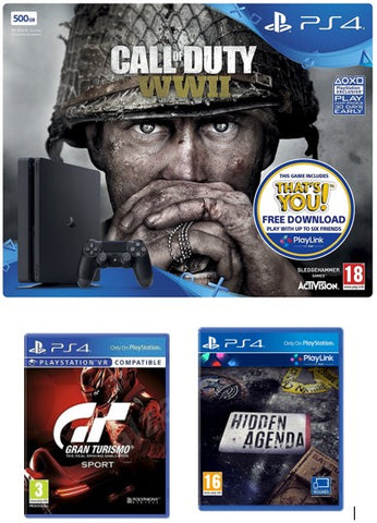 Sony Playstation 4 Console 500GB Call of Duty: WWII + GT Sports PS4 + Hidden Agenda PS4