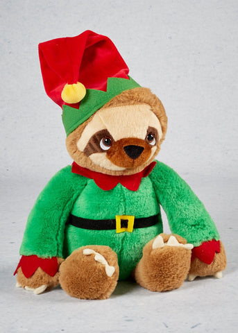 Keel Toys Sloth With Elf outfit 25cm soft toy