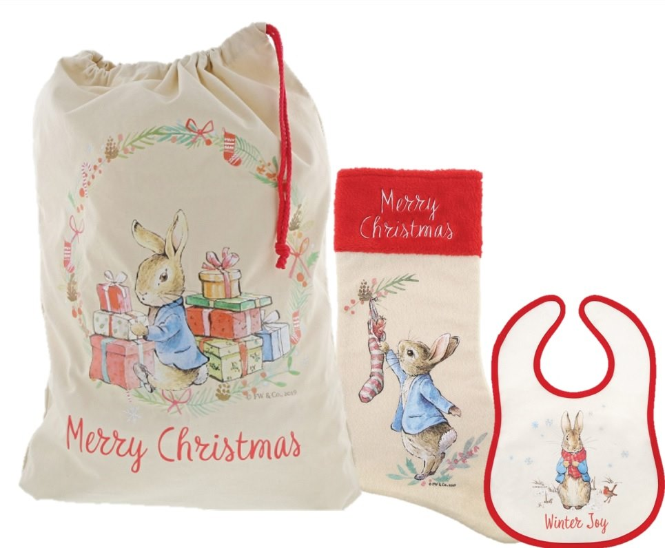 Beatrix Potter Peter Rabbit Christmas Sack, Stocking and Bib Gift Set