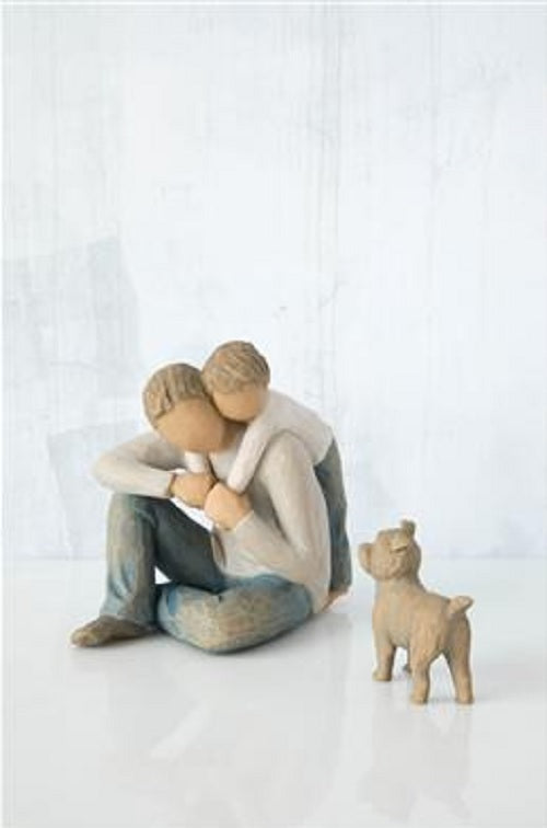 Willow Tree Figurines Gift Set Father and Son with Dog