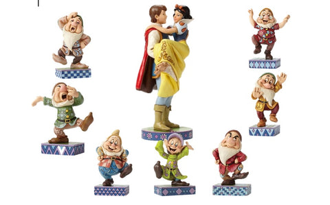 Disney Traditions Set of Snow White With Prince Charming and The 7 Dwarfs