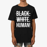 Black, White, Human Signature T-Shirt (Black) - Unisex