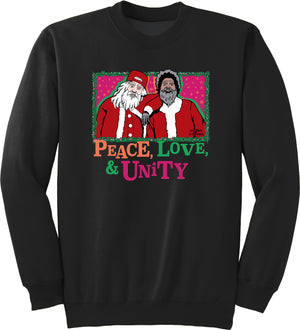 Peace, Love, Unity Christmas Sweater - Crewneck (Black Limited Edition) - Unisex