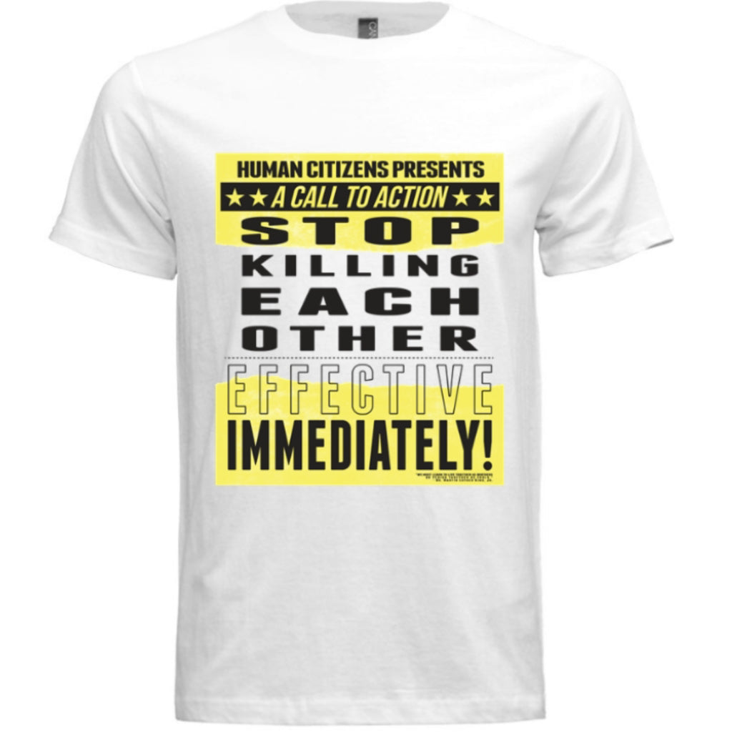 Call to Action Signature Protest T-Shirt (White/Yellow/Black) - Unisex