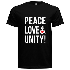 Peace, Love & Unity Signature T-Shirt (Black, White, Red) - Unisex