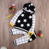 Long Sleeve Hooded Sweatshirt & Long Plaid Pants 2 Pcs Set